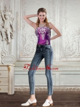 2015 Cute Strapless Embroidery and Beaded Corset in Dark Purple QDZY258TZDFOR