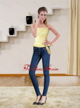 2015 Cute Strapless Light Yellow Corset with Bowknot MLXNHY05TZDFOR