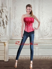 2015 Cute Strapless Red Corset with Embroidery and Hand Made Flower QDZY466TZDFOR
