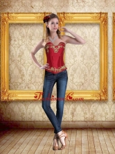 2015 Cute Sweetheart Wine Red Corset with Embroidery ZY775TZDFOR
