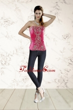 2015 Modest Beading Corset in Hot Pink XFNAO068TZCFOR