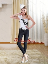 Black Embroidery Sweetheart White Corset with One Shoulder ZY734TZDFOR