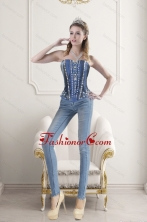 Blue Sweetheart Beading and Embroidery Corset XFNAOA62TZCFOR