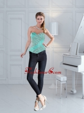 Cute Apple Green Sweetheart Beaded Corset for 2015 ZY791TZDFOR