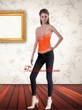 Gorgeous Sweetheart Orange Corset with Ruffles and Beading QDZY061TZDFOR