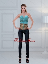 Leopard Printed Baby Blue Beaded Perfect Corset for 2015  ZYLJ91403TZDFOR