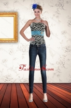 Multi Color Zebra Print Strapless Corset with Ruffles and Pick Ups XFNAO435TZCFOR