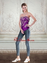 New Style Dark Purple Strapless Corset with Embroidery  QDZY244TZDFOR