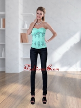 New Style Light Blue Strapless Corset with Embroidery QDZY590TZDFOR