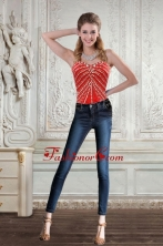 New Style Sweetheart Coral Red Corset With Beading for 2015 XFNAO092TZCFOR