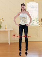 Popular Embroidery White and Gold Corset XFNAO5789TXCFOR