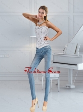 Popular Sweetheart White Corset with Ruffles and Beading QDZY152TZDFOR