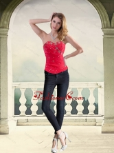 Wonderful Strapless Red Corset with Beading for 2015 QDZY034-2TZDFOR