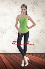 Spring Green Strapless 2015 Corset with Ruffles and Beading XFNAO5801TZDFOR