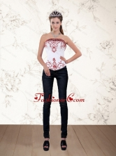 Strapless White and Wine Red Corset Dress with Embroidery PDZY535TZDFOR