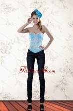 The Most Popular Ruffled Baby Blue Sweetheart Corset for 2015 XFNAOA45TZCFOR
