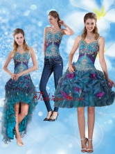 2015 Detachable Spaghetti Straps Prom Dresses with Hand Made Flower and Embroidery QDZY321TZB1FOR