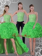 2015 Detachable Spring Green Strapless Prom Skirts with Beading and Ruffles QDZY257TZB1FOR
