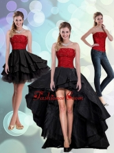 2015 Detachable Strapless Beading Prom Skirts in Red and Black QDZY597TZB1FOR