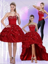 2015 Detachable Strapless Wine Red Prom Skirts with Embroidery QDZY230TZB1FOR