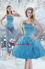 2015 Detachable Sweetheart Aqua Blue Prom Skirts with Beading and Ruffles XFNAOA19TZB1FOR
