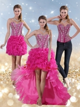2015 Hot Pink High Low Detachable Prom Skirts with Beading and Ruffled Layers LFY091906TZB1FOR