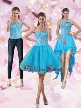 2015 Puffy Aqua Blue Strapless Short Detachable Prom Skirts with Beading PDZY690TZB1FOR