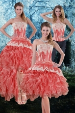 Detachable 2015 Appliques and Ruffles Strapless Prom Skirts in Watermelon XFNAO018TZB1FOR