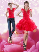 Detachable 2015 Knee Length Red Prom Skirts with Beading and Ruffles XFNAO293TZB1FOR