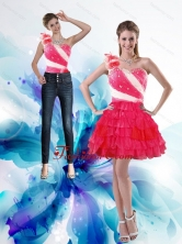 Detachable 2015 One Shoulder Prom Skirts with Hand Made Flowers and Ruffled Layers XFNAO239TZB1FOR
