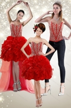 Detachable  2015 Red Prom Skirts with Beading and Ruffles XFNAO5781TZB1FOR