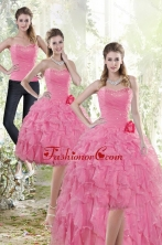 Detachable 2015 Rose Pink Prom  Skirts with Beading and Ruffles XFNAO142TZB1FOR