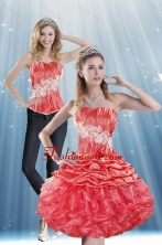 Detachable 2015 Strapless Appliques and Pick Ups Prom Skirts in Coral Red XFNAOA43TZB1FOR