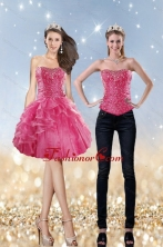 Detachable 2015 Strapless Coral Red Prom Skirts with Beading and Ruffles XFNAOA31TZB1FOR