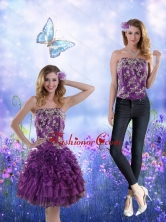 Detachable 2015 Strapless Purple Prom Skirts with Appliques and Ruffles XFNAO244TZB1FOR