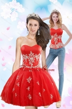 Detachable 2015 Sweetheart Appliques Prom Skirts in Red XFNAOA38TZB1FOR