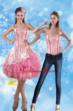 Detachable 2015 Sweetheart Embroidery Prom Skirts in Rose Pink XFNAO417TZB1FOR