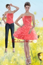 Detachable 2015 Watermelon Red Strapless Prom Skirts with Beading and Ruffles XFNAOA704TZB1FOR