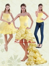 Detachable 2015 Yellow Sweetheart High Low Prom Skirts with Beading and Ruffled Layers MQR50TZB1FOR