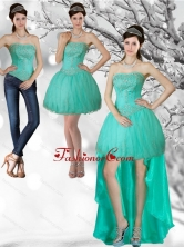 Detachable Apple Green Strapess High Low Prom Skirts with Beading QDZY218TZB1FOR