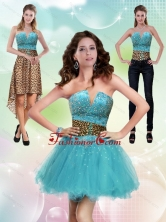 Detachable Aqua Blue Leopard Printed 2015 Prom Skirts with Beading ZYLJ91403TZB1FOR