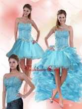 Detachable Aqua Blue Sweetheart High Low Prom Skirts with Ruffles and Beading QDZY109TZB1FOR