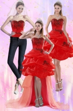Detachable Red Strapless 2015 Prom Skirts with Appliques and Pick Ups XFNAO508TZB1FOR