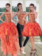 Detachable Strapless Multi Color 2015 Prom Skirts with Beading and Ruffles QDZY251TZB1FOR