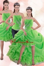 Detachable Strapless Spring Green Prom Skirts with Appliques and Ruffles XFNAO5801TZB1FOR