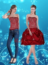 Detachable Wine Red Pretty Strapless 2015 Prom Skirts with Embroidery MLD090710TZB1FOR