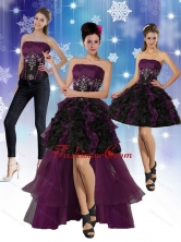 High Low Strapless 2015 Detachable Prom Skirts with Ruffles and Embroidery QDZY027TZB1FOR