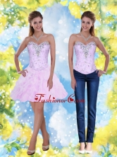 2015 Detachable Knee Length Beading and Ruffles Sweetheart Prom Dresses SJQDDT2004FOR