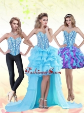 Aqua Blue High Low 2015 Prom Dress with Beading and Ruffles QDDTA71005FOR
