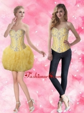 Beautiful Short Sweetheart Beaded Prom Dresses in Gold for Cocktail SJQDDT65004FOR